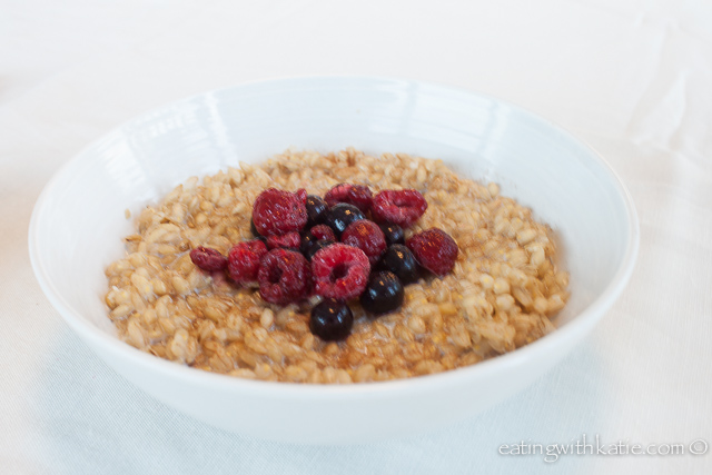 Bowl of pearl barley porridge
