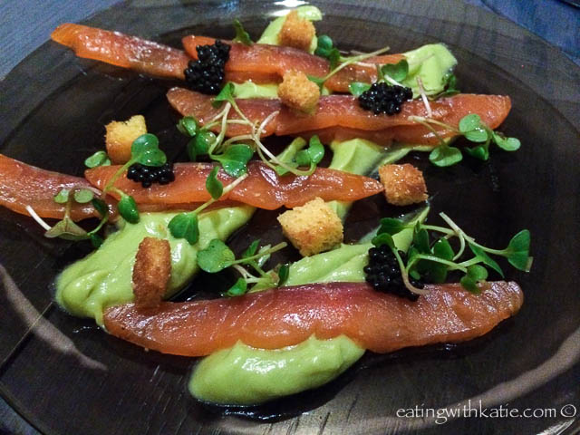 aniseed cured salmon, avocado purée, toasted brioche & caviar