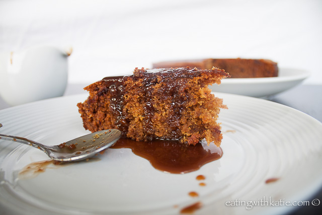 sticky date slice in sauce