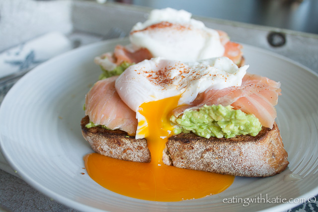 Avocado and oozing poached egg
