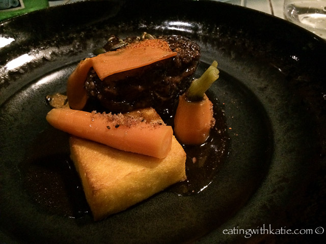 Gippsland ox cheek,  polenta and carrot $40