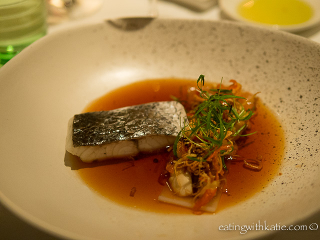 Steamed mulloway with rice noodles, japanese plum wine dressing, asian mushrooms, baby corn, fried chilli sambal