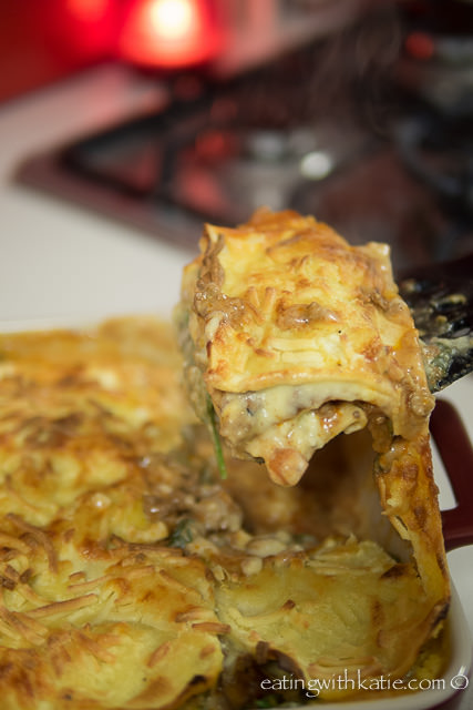 hot lasagne with melted cheese