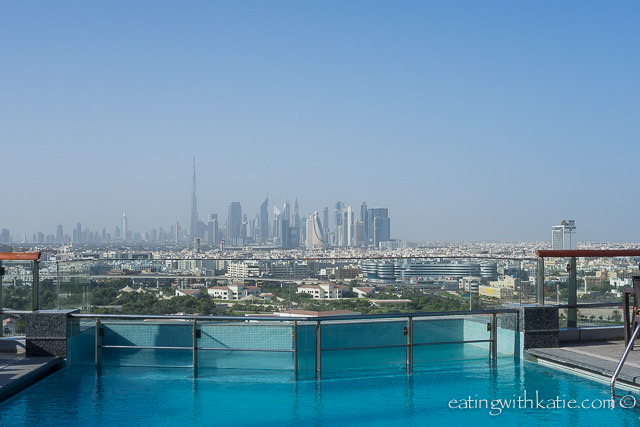 Pool view at Hilton Dubai Creek