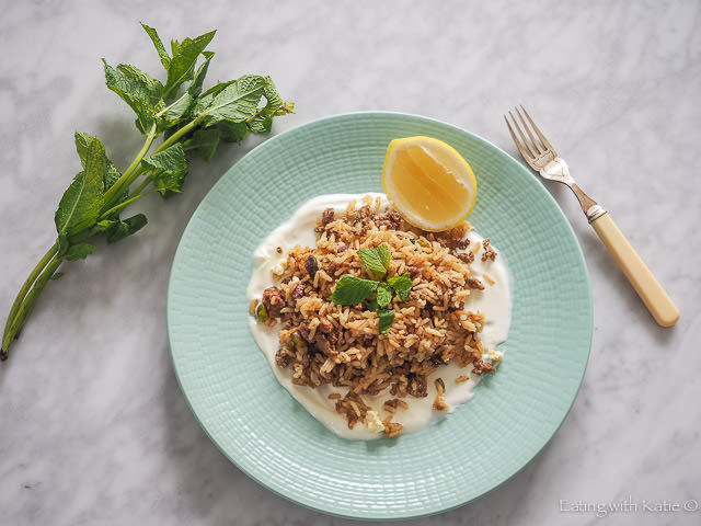 dish of lab and rice with lemon and mint