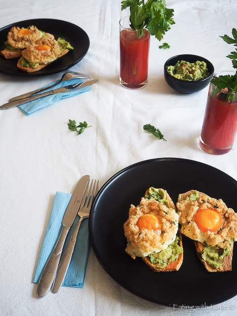 cloud eggs with sweet potato toast
