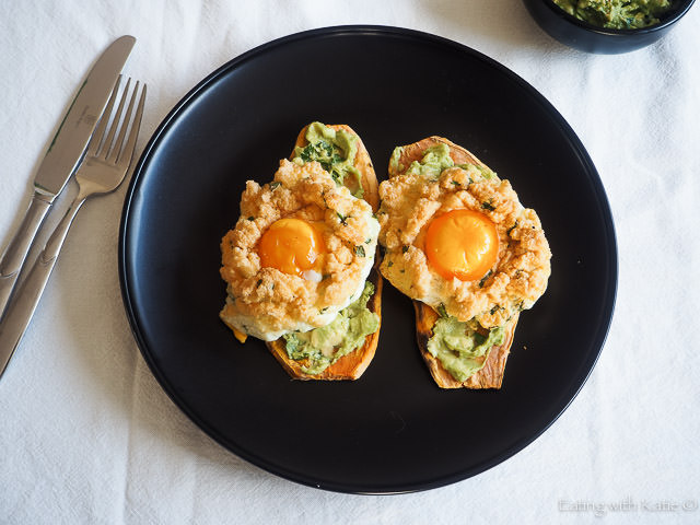 2 cloud eggs with sweet potato toast