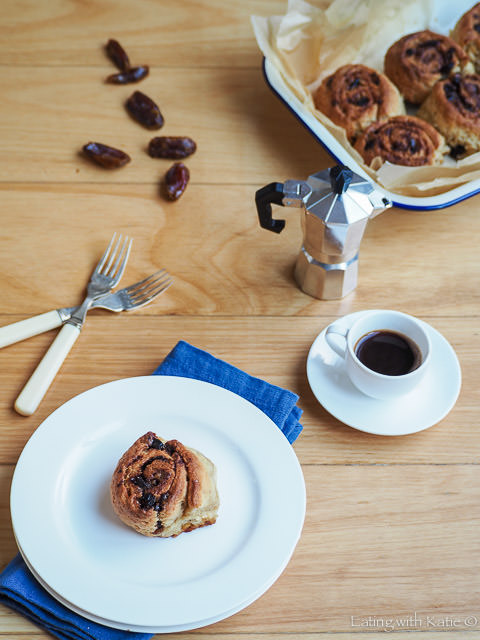 Sticky Date Scrolls with coffee and baking pan