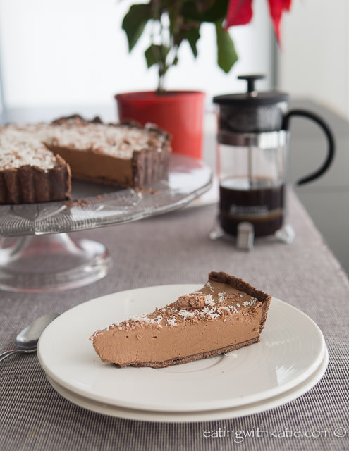 Mocha Cheesecake Tart slice and coffee