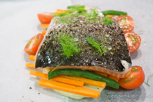 salmon and fennel in paper parcels
